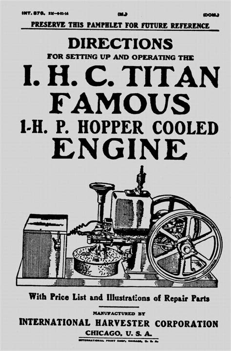 IHC Titan Famous 1 HP Hopper Cooled Engine Manual | eBay