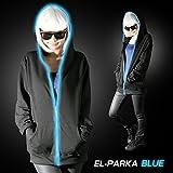 【全3色】光るELパーカー ブルー BLUE 青 4サイズ【 EL モール elワイヤー 光る衣装 光る服 光る 衣装 服 レディース メンズ パーカー 無地 黒 ブラック コスチューム Electro 】 (M)