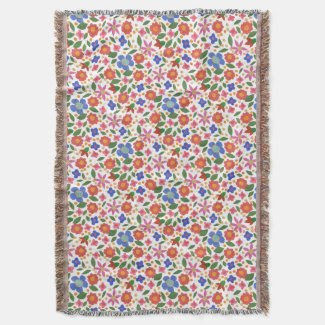 Chic Folk Art Style Floral on White Throw Blanket