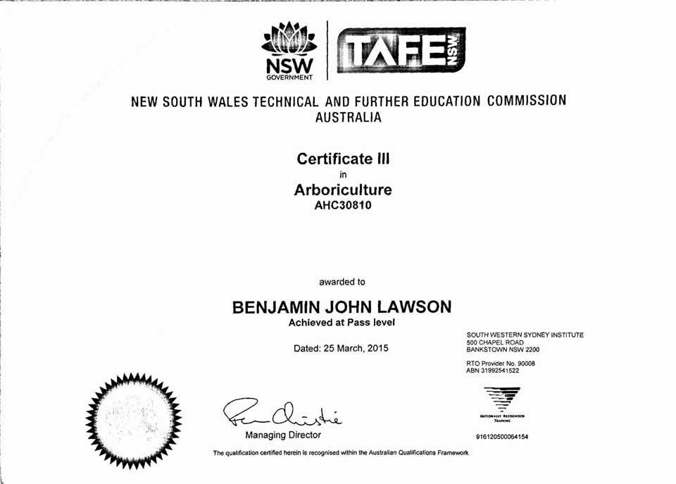 Arborist Qualifications & Certificates - Shanes Trees