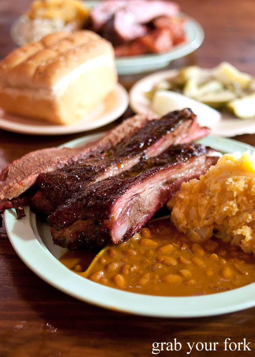 pork rib and brisket plate at the salt lick bbq driftwood austin texas