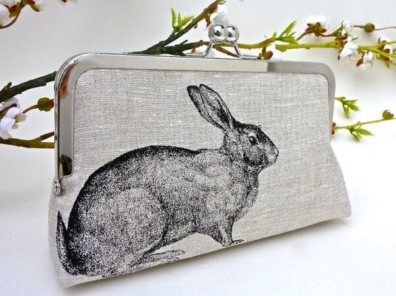 Linen Enchanted Rabbit Clutch in Black