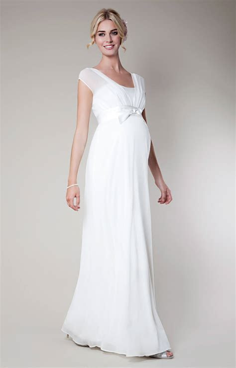 Lily Silk Maternity Wedding Gown Long (Ivory)   Maternity