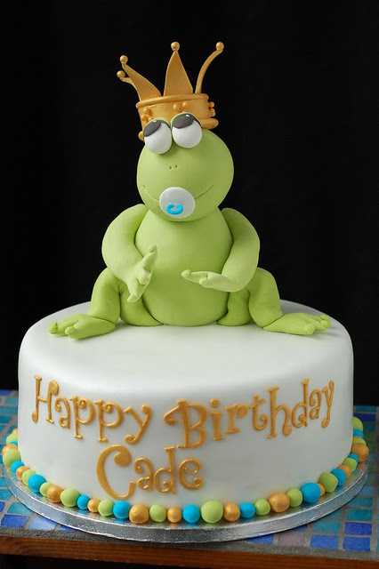 Cade's Frog Prince Birthday cake - front