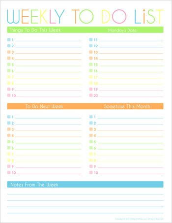 Weekly to do list. Part of a four page Time Management Printables ...