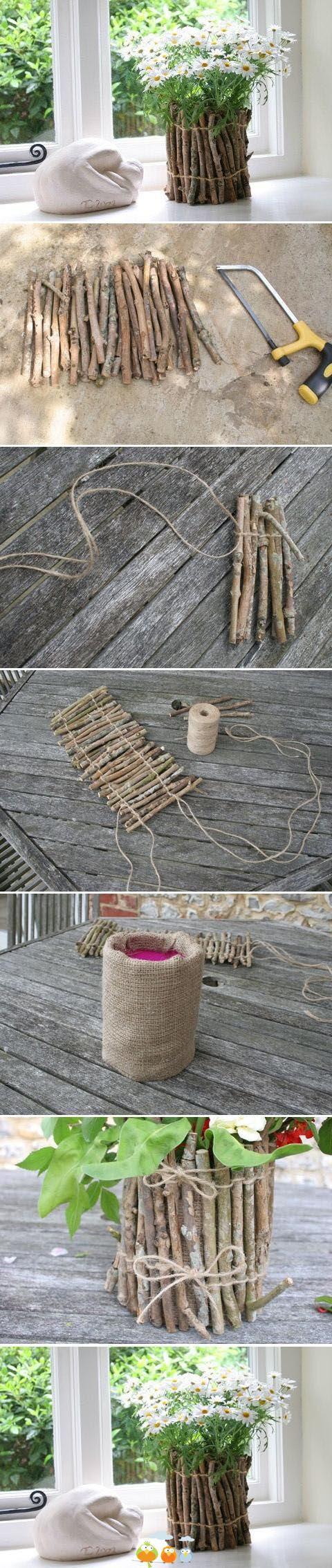 Fabriquer un cache pot avec des branchages.
