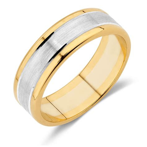 mens wedding band  ct yellow white gold