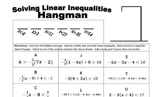 "The Best of Teacher Entrepreneurs: FREE MATH LESSON ""Inequalities Hangman: Solve MultiStep"