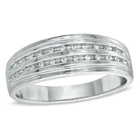 Men's Diamond Accent Double Row Wedding Band in Sterling