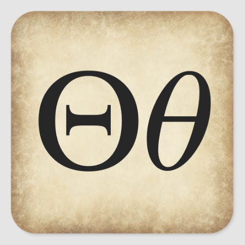 Greek Alphabet Letter Theta Square Sticker