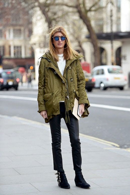 Le Fashion Blog Street Style Sarah Rutson Green Parka Mirrored Sunglasses Ribbed Silver Knit Cropped Black Pants Buckled Ankle Boots Via Carolines Mode
