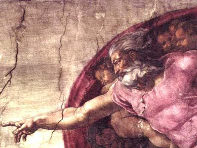 Michelangelo Buonarroti's Creation of Adam fresco, detail