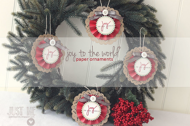 """joy"" paper ornaments"