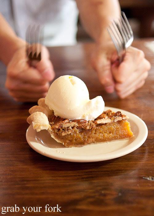 homemade pecan pie dessert at the salt lick bbq driftwood austin texas