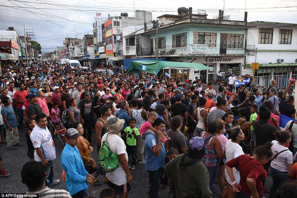 Elsewhere inMatias Romero, Oaxaca State, Mexico, migrants taking part in the caravan marched to protest against Donald Trump on Tuesday