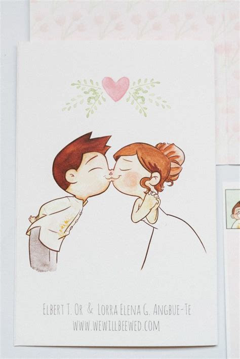 Cute cartoon by Elbert Or   wedding invite cover   Project