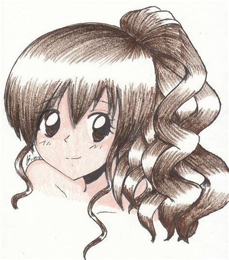 simple drawing  curly haired girl anime girl
