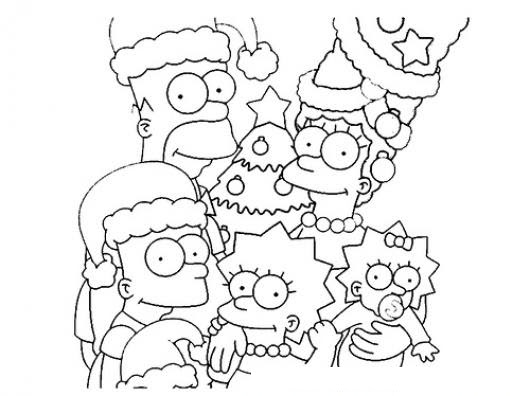 Dibujo De La Familia Simpson En Navidad Con Sombreros De Santaclaus