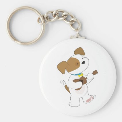 Cute Puppy Ukulele Key Chain