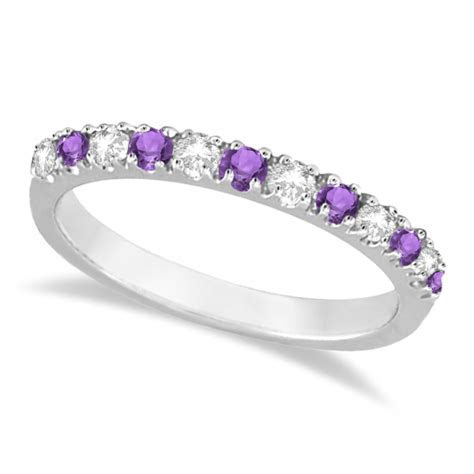 Diamond and Amethyst Ring Guard Stackable Band 14k White