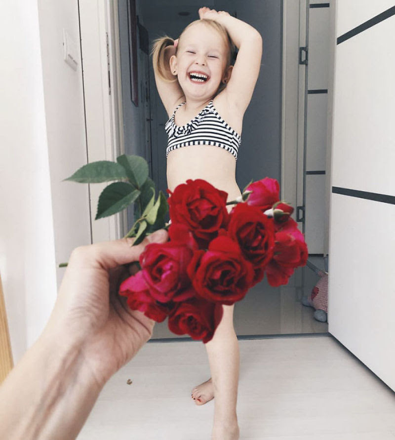 Mãe veste a filha com flores e comida usando a perspectiva forçada e conquista a internet 12
