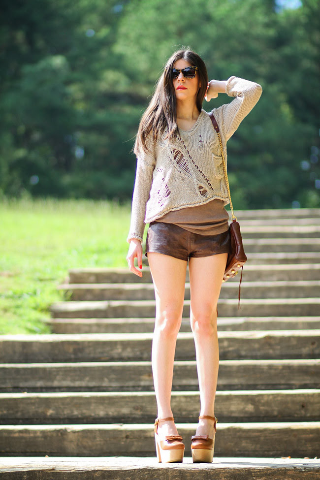 Abercrombie and Fitch Leather shorts, Brandy Love Melville Chunky Knit, Chloe Sevigny Opening Ceremony Platform Mary Janes, Karen Walker Perfect Day Sunglasses, Rebecca Minkoff MAC Bag, Fashion outfit