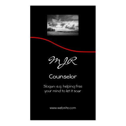 Monogram, Counselling Services, red swoosh Business Card Template