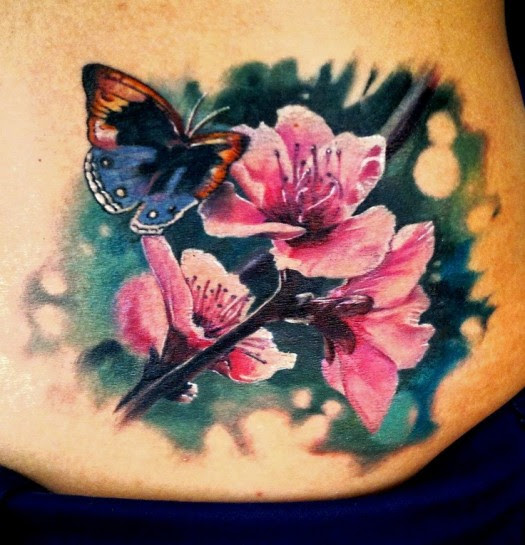 Color Butterfly And Cherry Blossom Flowers Tattoo