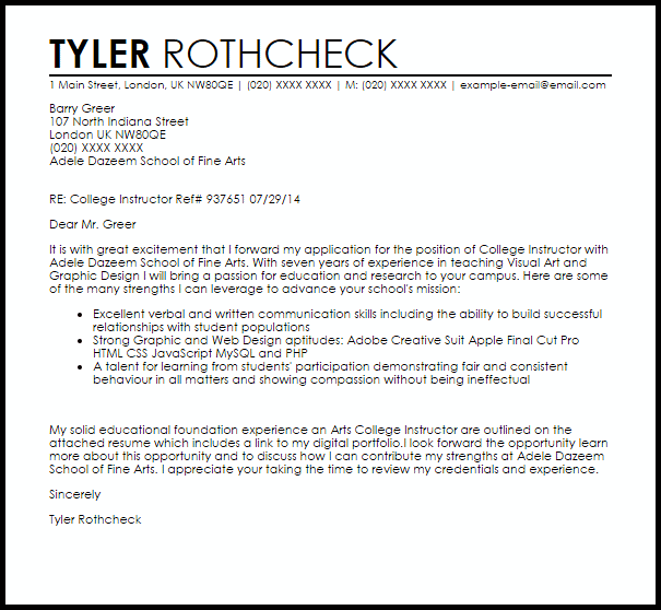 College Instructor Cover Letter
