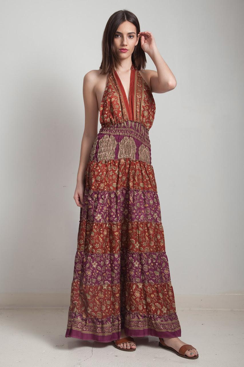 ooak silk scarf dress boho bohemian sari halter tiered