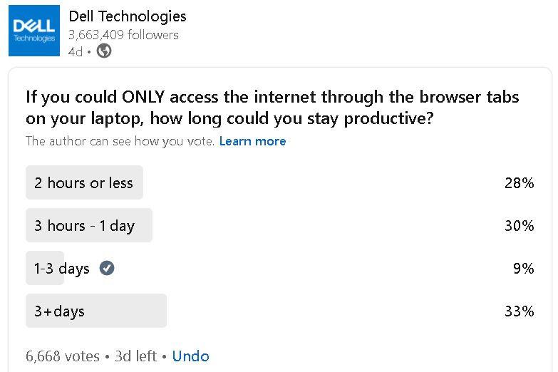 Gambar pribadi - polling oleh Dell di Linkedin
