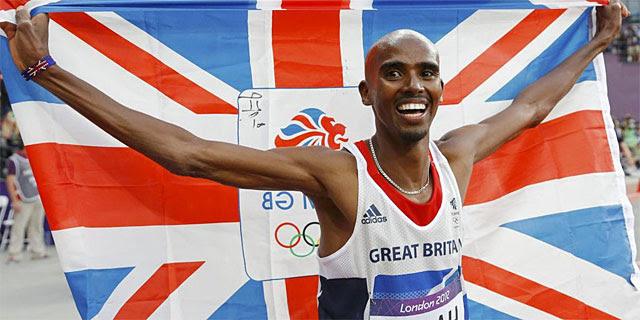Mo Farah, tras su victoria en los 5.000 metros. (AFP)