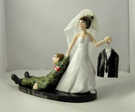 Custom Wedding Cake Toppers Camouflage & Tuxedo Canadian