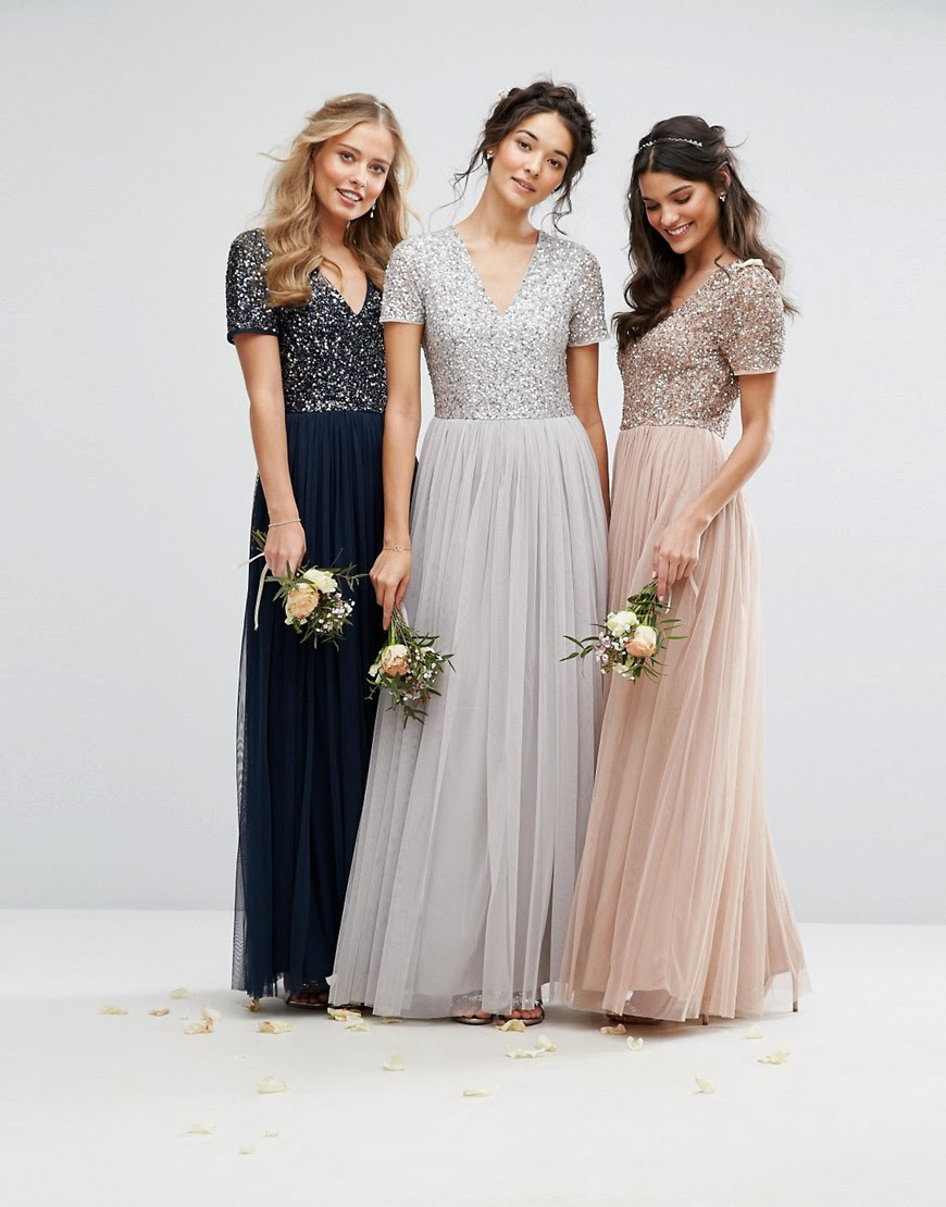 Image 4 of Maya V Neck Tulle Maxi Dress With Tonal Delicate Sequins