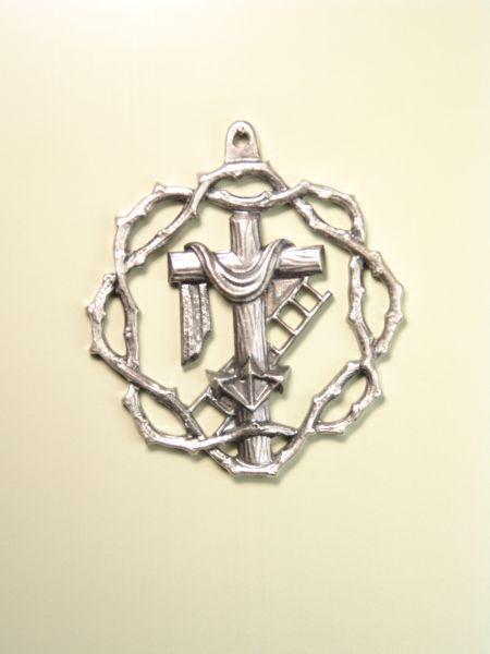 Medallas Religiosas Heráldicas Relieve Cruz Con Sudario Escalera
