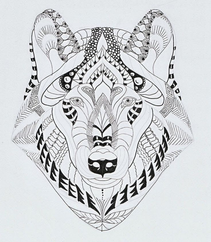 Efie goes Zentangle: wolf van Ben Kwok | Zentangle animals ...