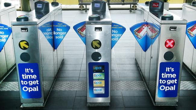 Opal card turnstiles at Gosford that will soon accept bank cards. Picture: Peter Clark