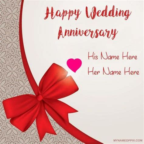 Write Couple Name Anniversary Card Image. Beautiful Lover