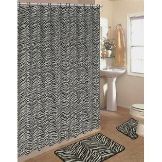 ZEBRA FABRIC SHOWER CURTAIN, FABRIC COVERED RINGS, AREA RUG ...
