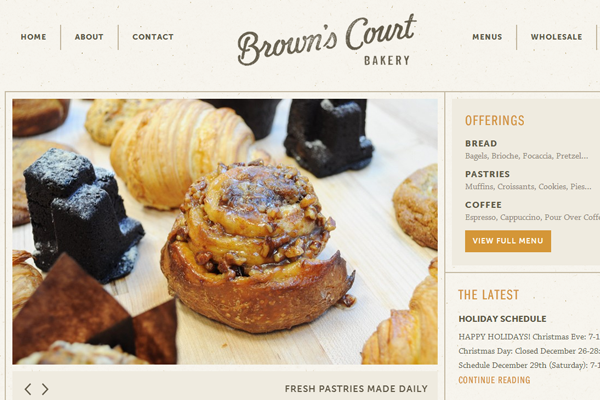 browns court bakery website interface classic retro effects
