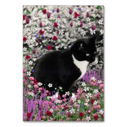 Freckles in Flowers II, Tuxedo Kitty Cat Table Cards