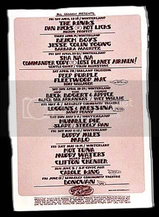 Winterland May, 1973 giglist large, Winterland May, 1973 giglist large