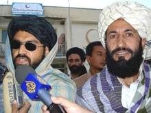 Afghanistan -- Taliban representatives Mullah Bashir (L) and Mullah Nasrullah addresse the media in Ghazni, 28Aug2007