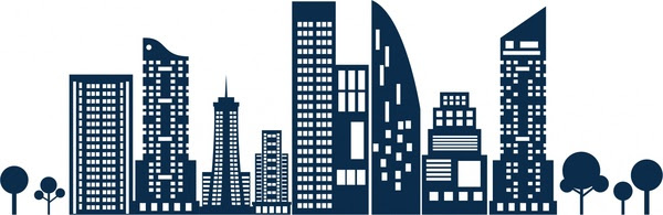Cakrawala Sketsa Desain Bangunan Tinggi Pada Latar Belakang Putih
