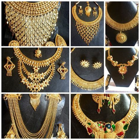 Indian 22K Gold Plated Wedding Necklace Earrings Jewelry