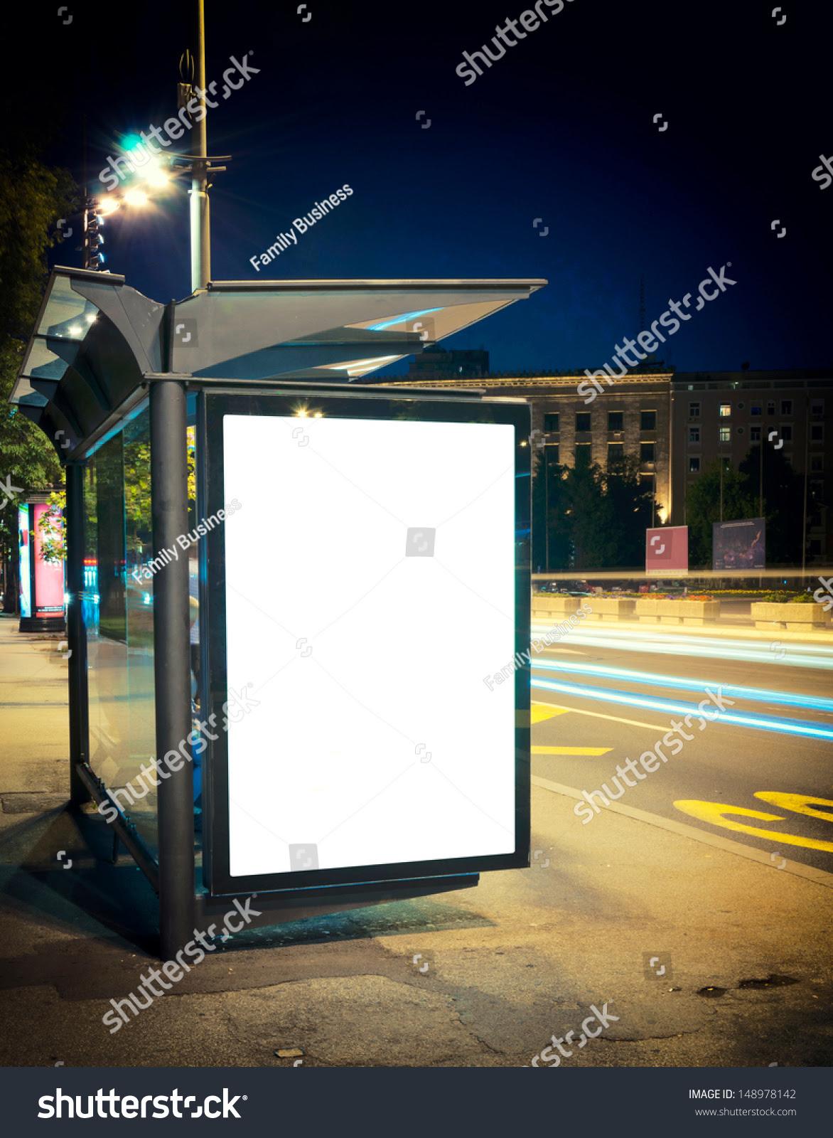 Night Bus Station Blank Billboard Stock Photo 148978142 - Shutterstock
