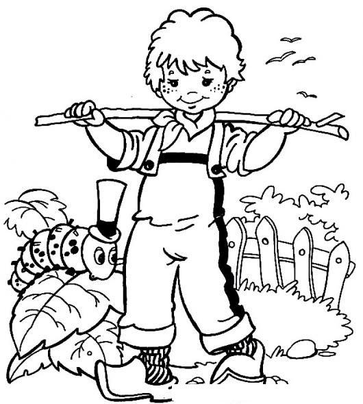 Granjerito Para Colorear Dibujo De Nino Granjero Con Un Gusano Para