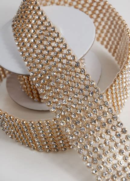 "Rhinestone Ribbon with Stones Gold Setting 1 3/8"" width 41"