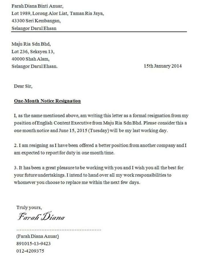 Contoh Surat Rasmi Berhenti Kerja 24 Jam - Gambar Con