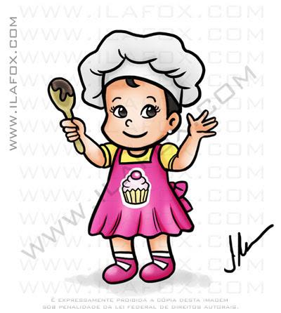 caricaturas fofinhas, caricaturas infantis, cozinheira, doces, caricaturas personalizadas, by ila fox